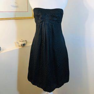 WHBM Black Silk Dress Strapless Size 2